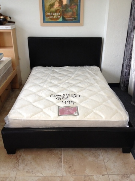 Full Size Leather Platform Bed With Mattress Only $499