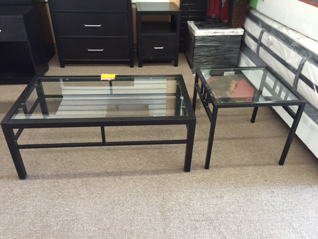 Gently used glass coffee table with matching nightstand only $49