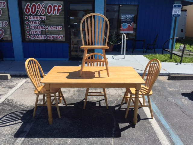WOODEN DINETTE SET WITH 4 CHAIRS