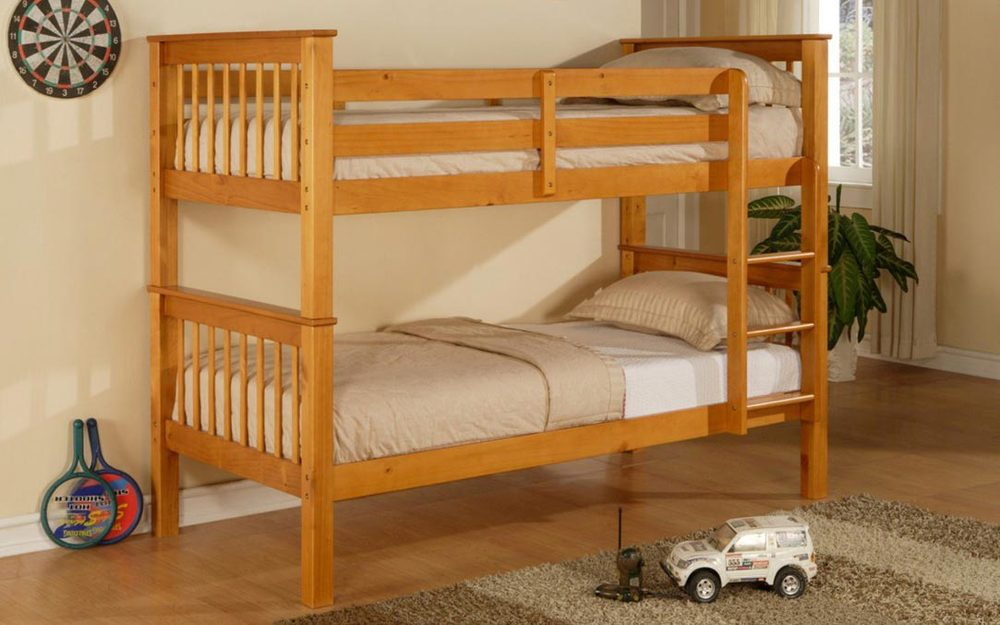 Twin twin wooden bunk bed with mattresses only 349 call for Wooden bunkbeds